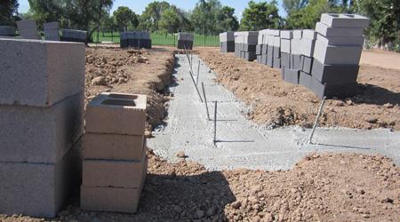 La construction d'un mur de clôture