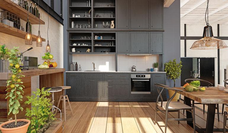 Exemple de cuisine équipée moderne et chaleureuse