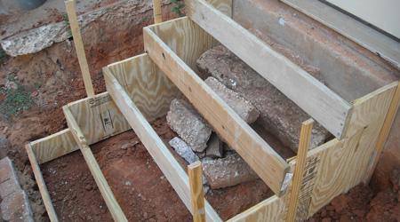 La construction d'un escalier extérieur