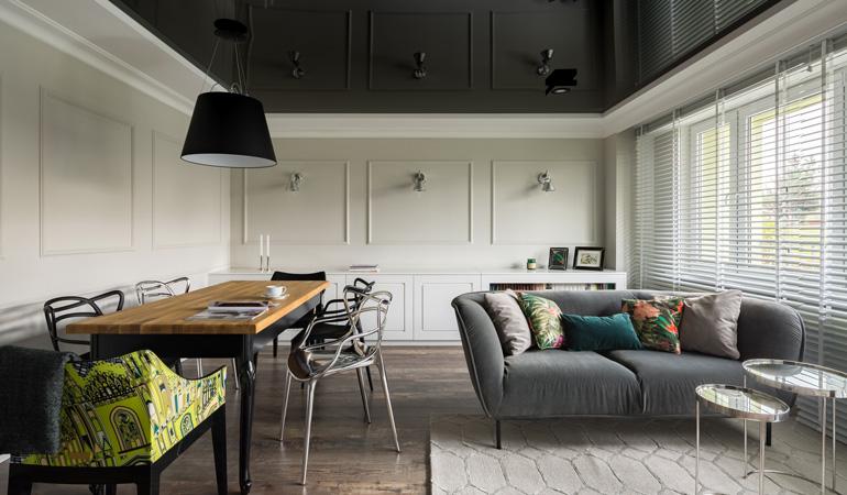Plafond tendu moderne avec sorties lumières intégrées